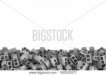 Rendering frame made of gray cinder blocks lying at the bottom on white background. Building materials. Construction industry. Renovation of premises.