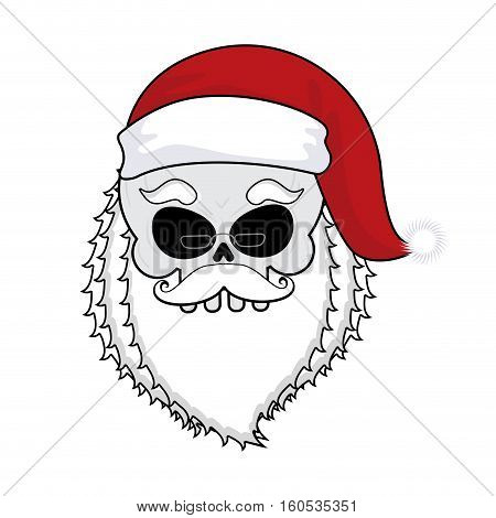 Santa Skull. Skeleton Head In Red Santa Hat. Death Christmas.