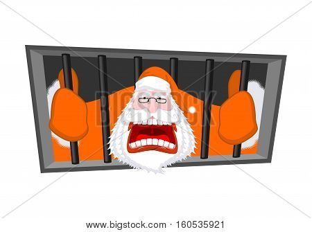 Santa Claus Orange Prisoner Clothing. Christmas In Prison. Window In Prison With Bars. Bad Santa Cri