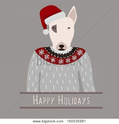 Greeting background with Bull Terrier. A dog with a hat of Santa Claus. Flat design. Pet. Cute doggie. Cartoon character. Animal. Vector illustration eps10