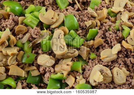 Close up  casserole layers of canned mushrooms, chopped green bell peppers, cooked hamburger meat and whole wheat rotini pasta
