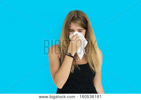 Blonde Girl Crying Sneezing Concept