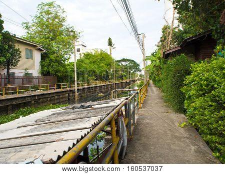 Concrete Walk way along the drainage canal