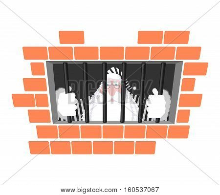 Santa Claus Prison In Striped Robe. Window In Prison With Bars. Bad Santa Criminal. New Year Is Canc