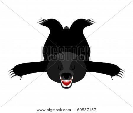 Bearskin Baribal. Skin Of American Black Bear. Hunter Trophy Isolated. Fur Carpet