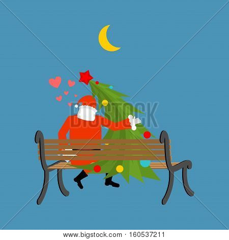 Santa Claus And Christmas Tree Looking At Moon. Christmas Date. Old Man In Red Suit And Fur-tree New