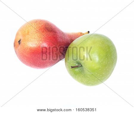 Organic bartlett pear and granny smith apple isolated on white background