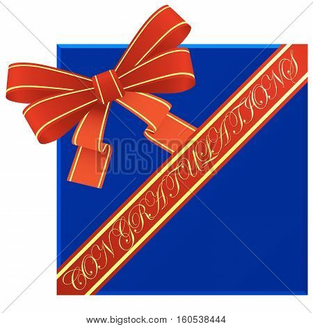 Red bow and ribbon with a congratulatory inscription. The illustration on a white background.