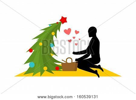 Christmas Lover. Christmas Tree At Picnic. Rendezvous In Park. Meal In Nature. Plaid And Basket For
