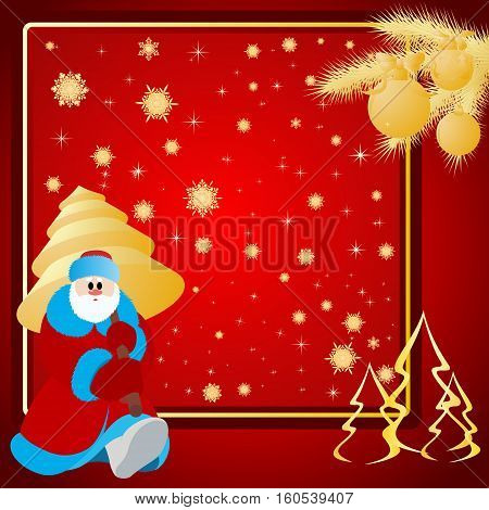 Santa Claus with Christmas tree Christmas background.