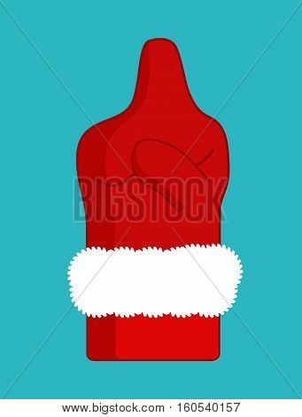 Fuck Santa Claus Dislike. Middle Finger In Red Mitten. Aggressive Symbol New Year. Bad Sign