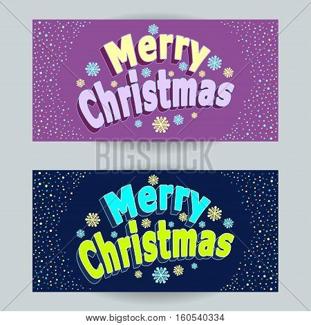 Set Merry Christmas horizontal banners with confetti in cartoon  style  on lilac  and on dark blue background  for congratulation or invitation or package winter holiday or  for Creative Post Card