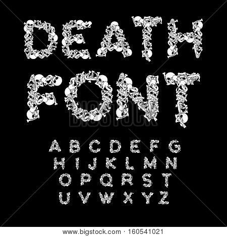 Death Font. Bones Abc. Skeleton Alphabet. Letters Anatomy. Skull And Spine. Jaw And Pelvis. Hell Sca