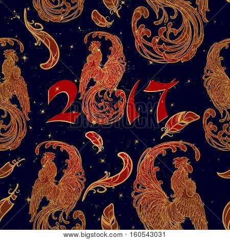 New year rooster as a symbol of the 2017 year. Seamless pattern. Intricate linear drawing of the crowing Rooster on contrast background. EPS10 vector illustration.