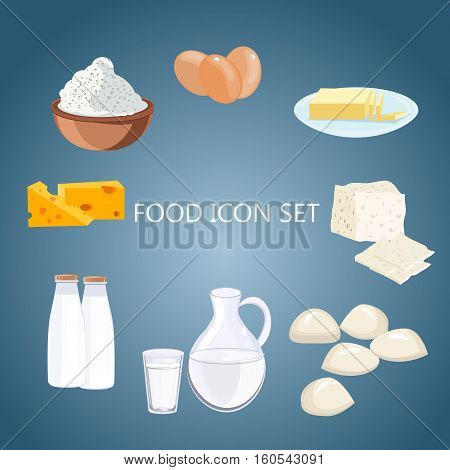 Dairy products. Milk products. Farm products diet nutrition drink. Cheese milk cottage cheese yogurt dairy products. Vector flat cartoon illustration dairy products healthy cream ingredient.