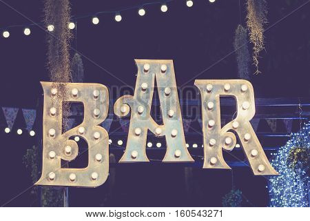 Bar signage Lights decoration outdoor Event Retro Type design