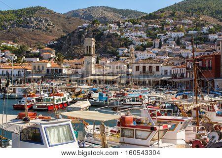 Local fishing boats in the harbour of Hydra island, Aegean sea, Greece.