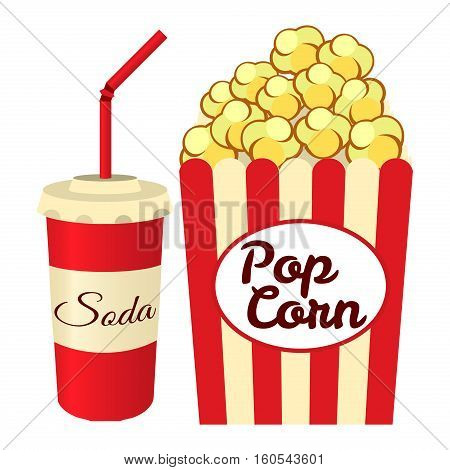 Popcorn, soda takeaway isolated on white background. Vector illustration for your design.