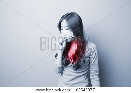 Woman coughing with mask,feel no good, asian