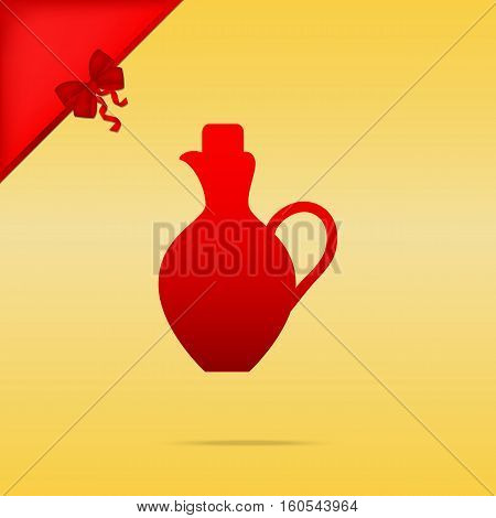 Amphora Sign Illustration. Cristmas Design Red Icon On Gold Back