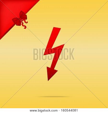 High Voltage Danger Sign. Cristmas Design Red Icon On Gold Backg