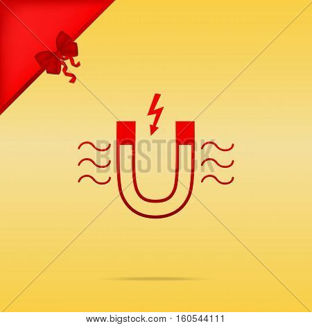 Magnet With Magnetic Force Indication. Cristmas Design Red Icon