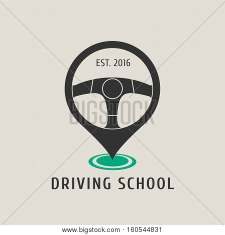Automobile driving school vector logo sign emblem. Steering wheel design element. Driving lessons concept illustration insignia sticker banner