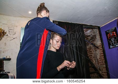 Backstage And Make-up Before Fashion Performance Art Chaos In Night Club Black Rose In Kirov City In