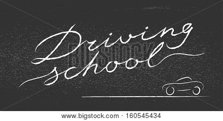 Driving school vector logo sign symbol emblem. Blackboard with lettering design element concept illustration for driving lessons