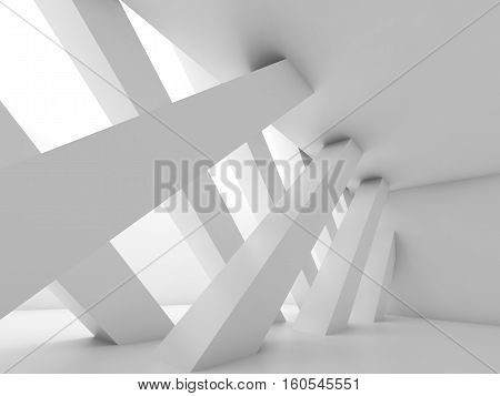 Diagonal Girders, Blank White Interior Background