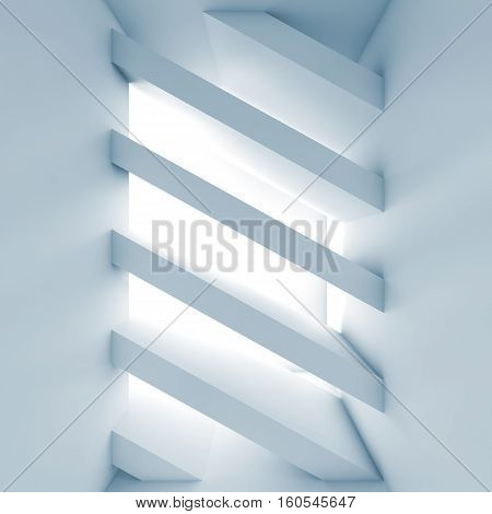Abstract White Empty Room 3D Diagonal Girders
