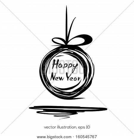 Sloppily painted Christmas ball on a white background. Happy New Year. Vector illustration