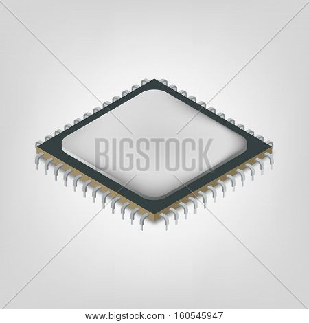 Central processing unit in an isometric view isolated on white background. Element of design electronic components of digital devices and computer vector illustration.