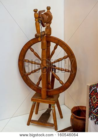 Old Ukrainian wooden distaff to produce of yarn