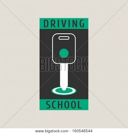 Driving school vector logo sign symbol emblem. Key in car starter graphic design element. Professional driving lessons for auto license concept illustration