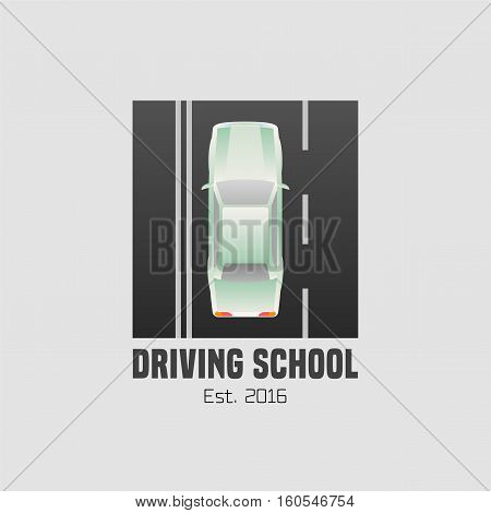 Driving school vector logo sign symbol emblem. Car driving on the street graphic design element concept illustration