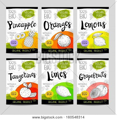 Set of colorful stickers in sketch style, food, spices, white background. Fruit, vegan, naturally, fresh, eco. Hand drawn vector illustration