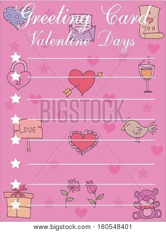 Illustration of greeting card valentine collection stock