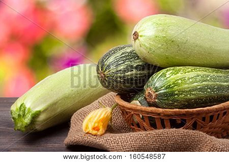 green zucchini and courgettes on sackcloth with a blurred background.