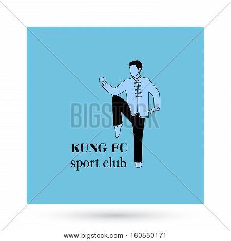 Kung fu sport club logo design presentation. Vector illustration