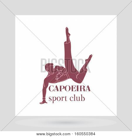 Sport club logo design presentation. Capoeira man symbol on white. Vector illustration