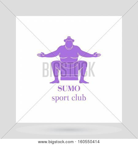 Sumo fight club logo design presentation with violet silhouette of man. Vector illustration