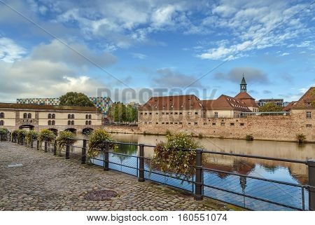 View of Vauban Dam and Commanderie Saint-Jean home of ENA National School of Administration Strasbourg Alsace France