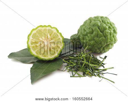 Fresh kaffir lime and leaf slice isolated on white background