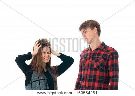 portrait of young cute stylish couple in love having fun in studio isolated on white background