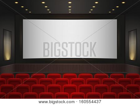 Interior of a cinema movie theatre. Red cinema or theater seats in front of white blank screen. Empty Cinema auditorium background vector illustration