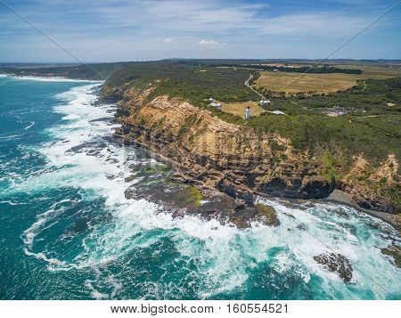 Aerial View Of Cape Schanck Lighthouse And Rugged Cliffs, Australia.