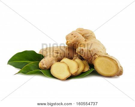 Ginger vegetable slice with leaf isolated on white background