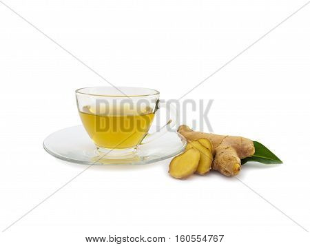 Ginger tea and ginger root vegetable isolated on white background