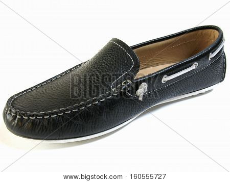 Loafers on white background. Mocassin on white background. Black female shoes on a white background.